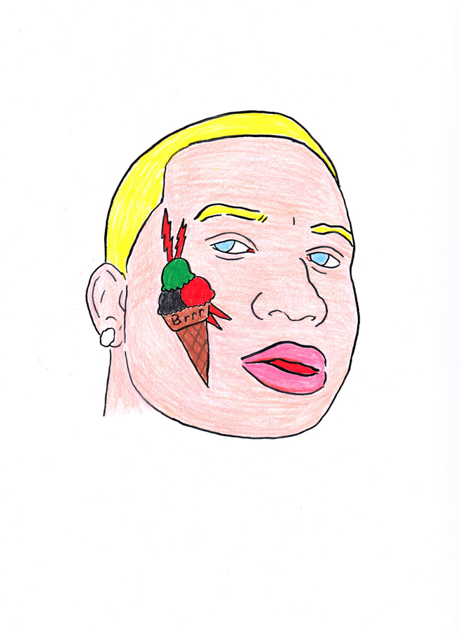 Post-Gucci , 2015 Ink and color pencil on paper 9 x 12 in