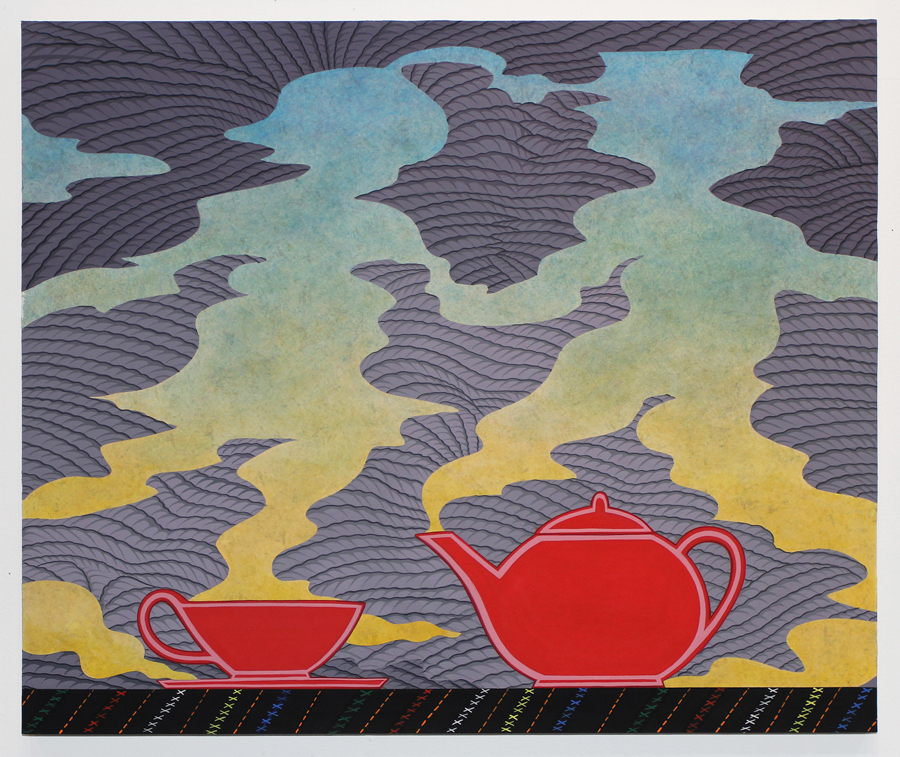Tea for Two , 2016. Acryla gouache on paper glued on panel, 20 x 24 inches