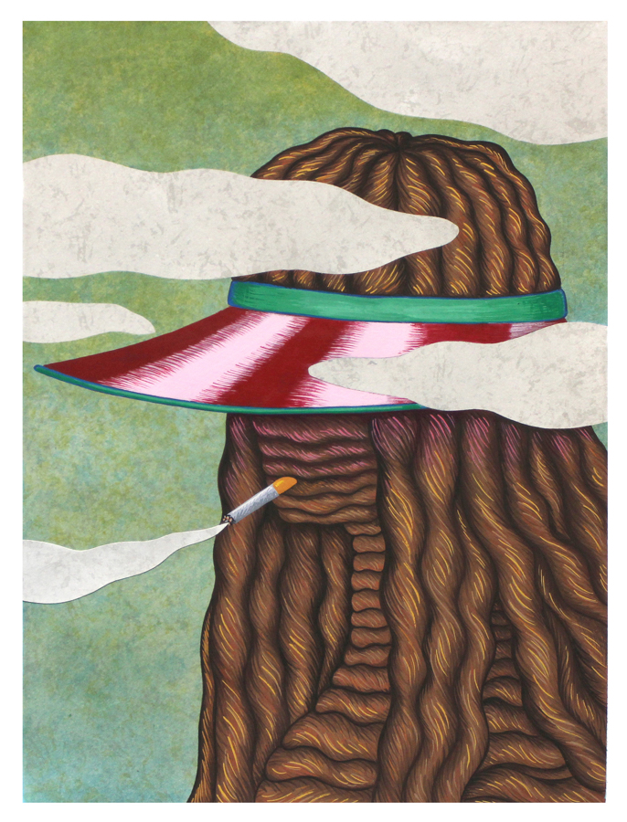 Visor , 2015. Gouache on paper, 16 x 12 inches
