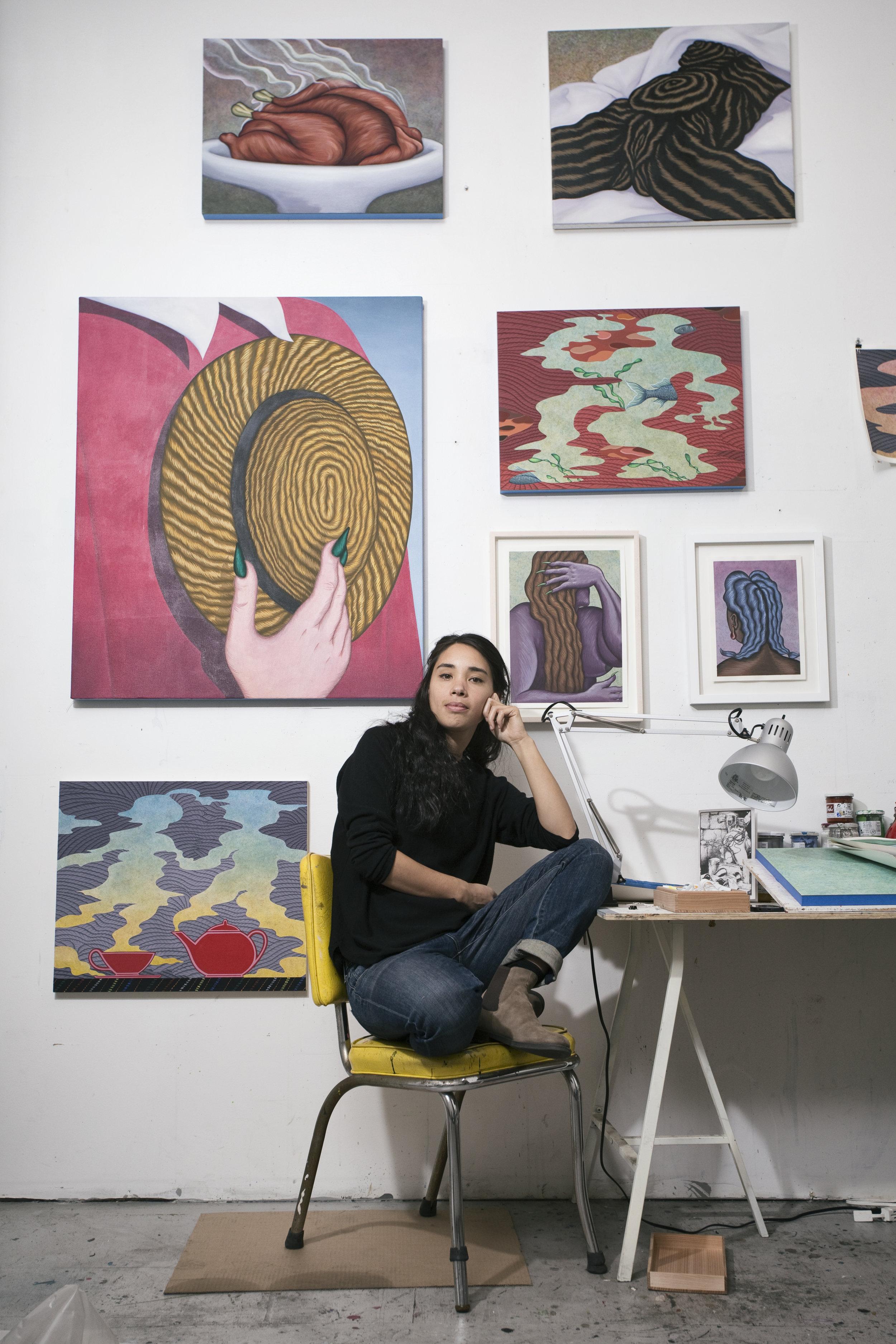 Julie in her Brooklyn Studio. Photo by Maxim Ryazansky.