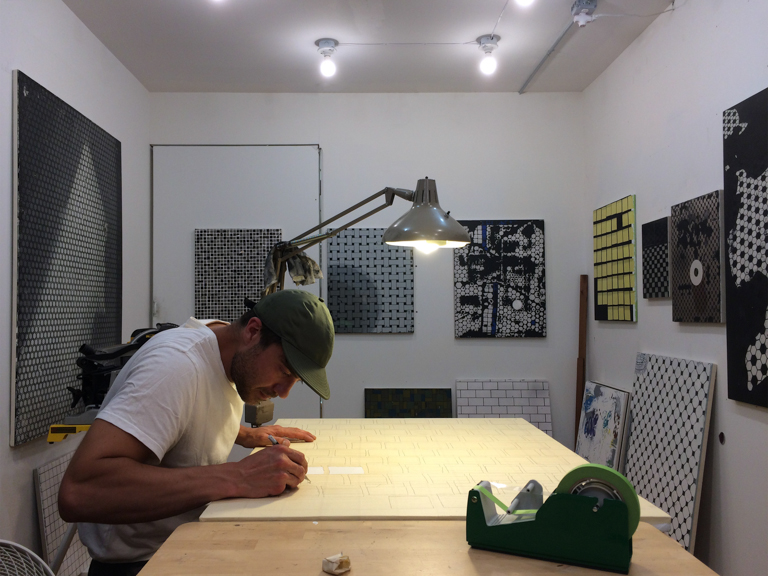 Aaron at work in his studio.