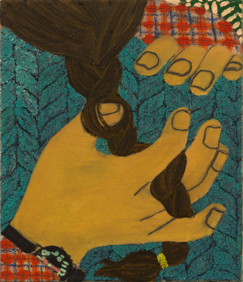 Braid Touch  2015 oil and paper on canvas