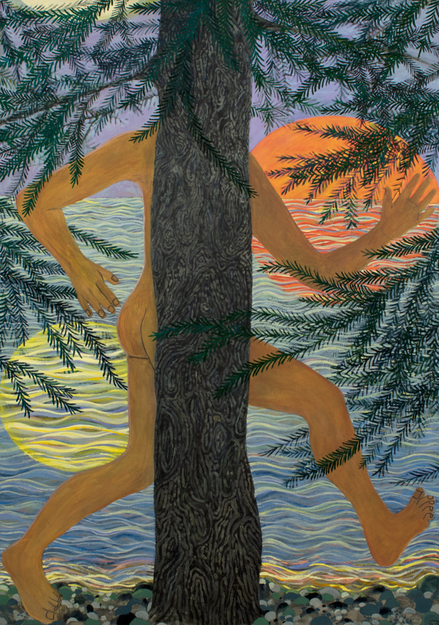 Naked Woods Runner  2017 oil and paper on canvas 72in x 50in