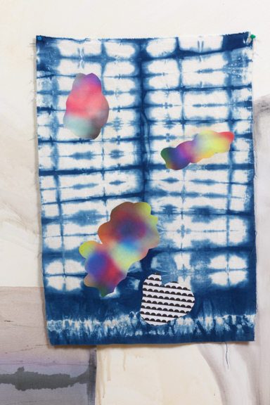"""Shibori #1 , 2017, fabric collage on hand dyed fabric, approx.. 30 x 24"""" and 40 x 30"""""""