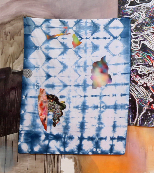"""Shibori #2 , 2017,fabric collage on hand dyed fabric, approx.. 30 x 24"""" and 40 x 30"""""""