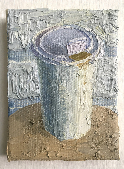Paper Cup,  2017, Oil on Canvas Mounted on Wood, 7 x 5.5 inch