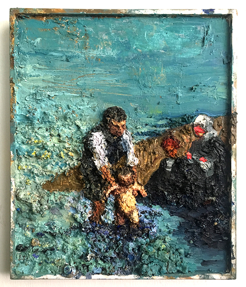 River Washing,  2016, Oil on Wood, 17 x 14 inch