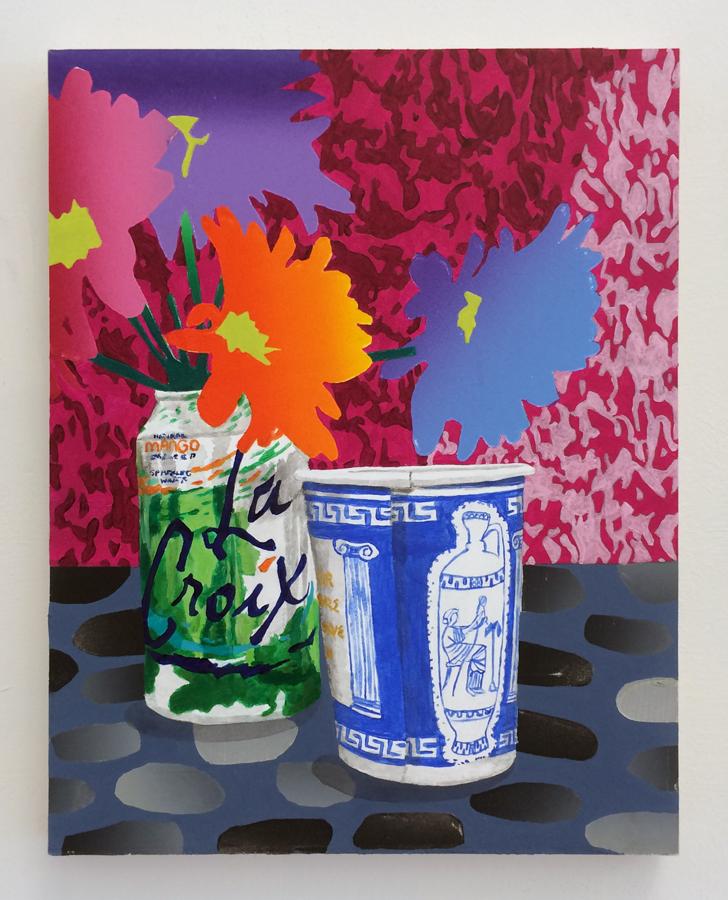 """Karen Lederer ,  Aura Reading ,2016, marker, oil and acrylic on panel, 11"""" x 14"""""""