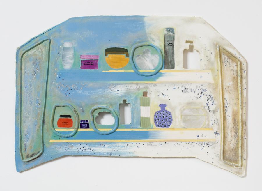 Seven Skins, 2016 Urethane, alabaster, glazed ceramic, pigment, filler 38¾ x 23¾ x ½ inches