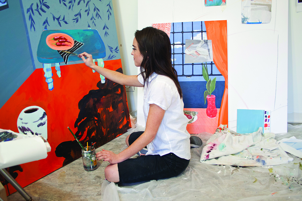 Tate Leone, painting in her studio at Bunker Projects.