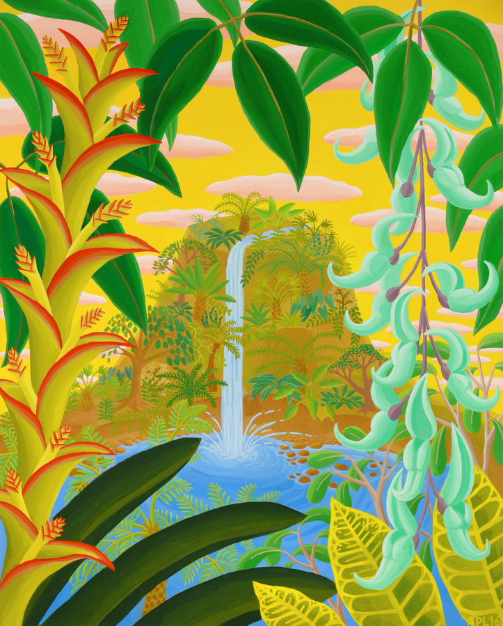 Jungle Waterfall  Acrylic on panel 20 x 16 inches 2016