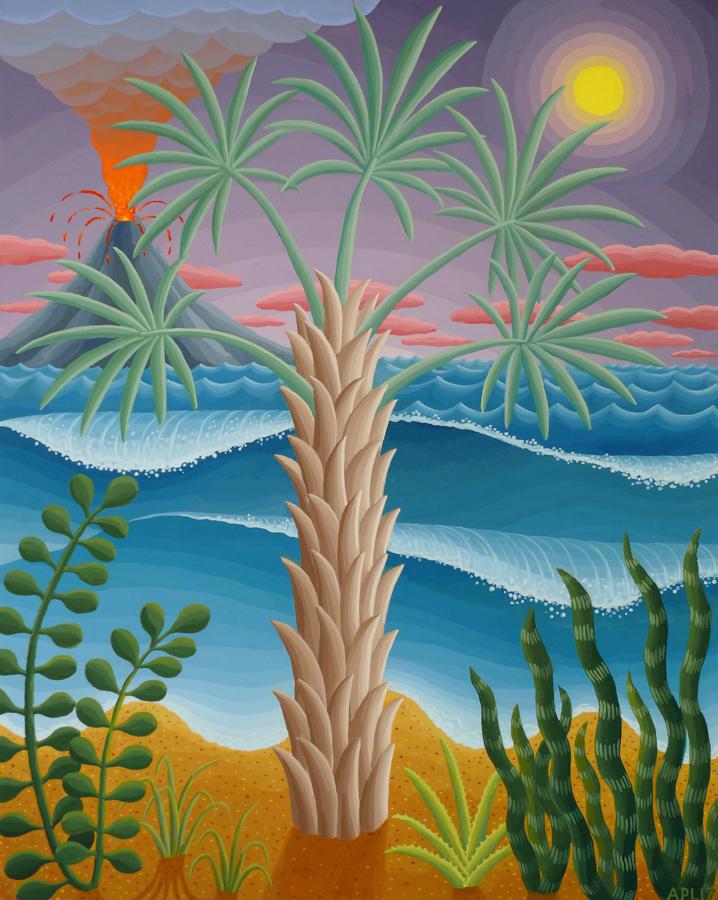 Bismarck Palm 2017 acrylic on panel 20 x 16 inches
