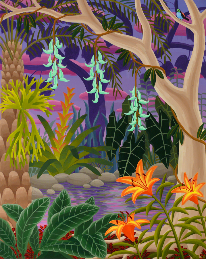Jungle with Jade Vine 2016 acrylic on panel 20 x 16 inches