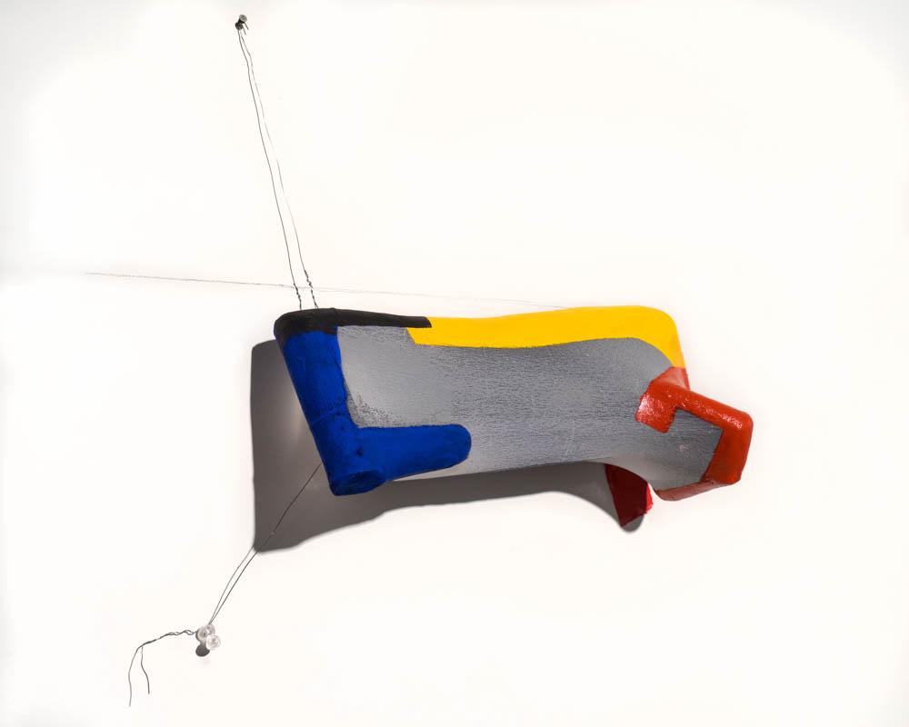 RYB (elzee)  12 x 14 x 4 inches, ceramic, nylon, paint, wire, pushpin, nail,graphite, 2017