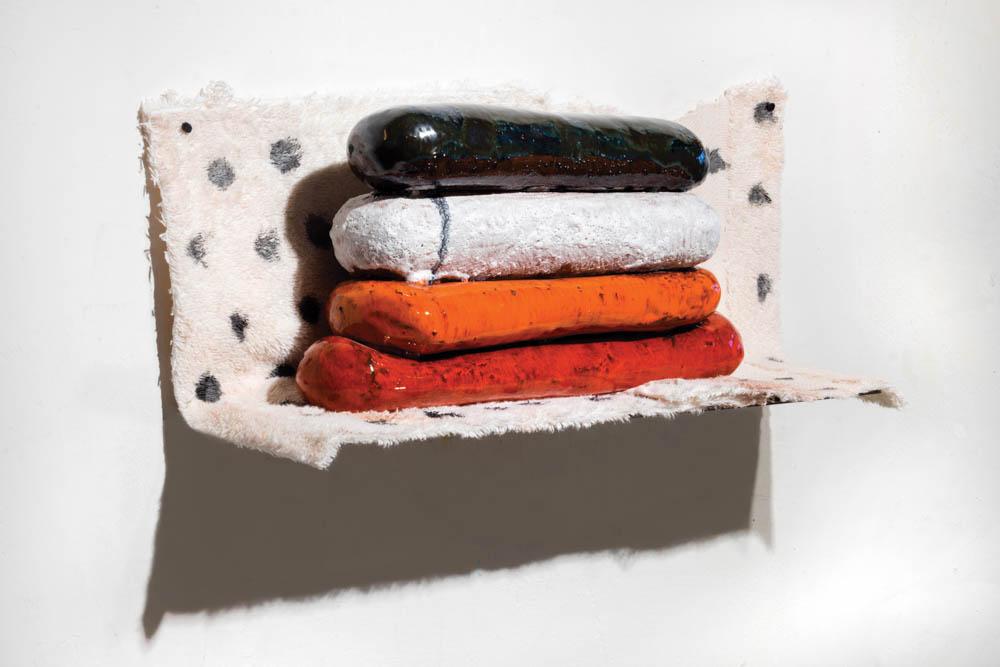 WORB (polka)  6.5 x 17 x 5 inches, ceramic, cloth, paint, pushpins, 2016