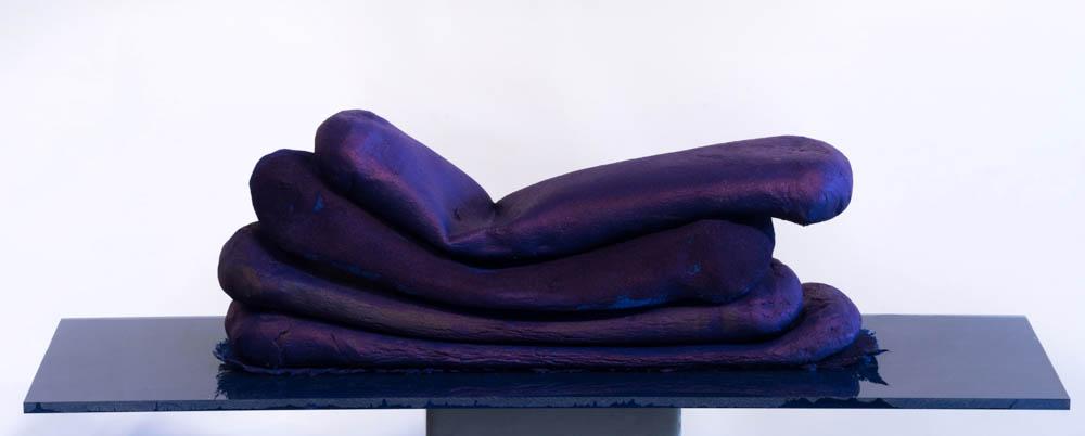 UB (suede)  Ceramic, ink, flocking, cloth, plexiglass, paint, 8.25 x 5.25 x 3 inches, 2016