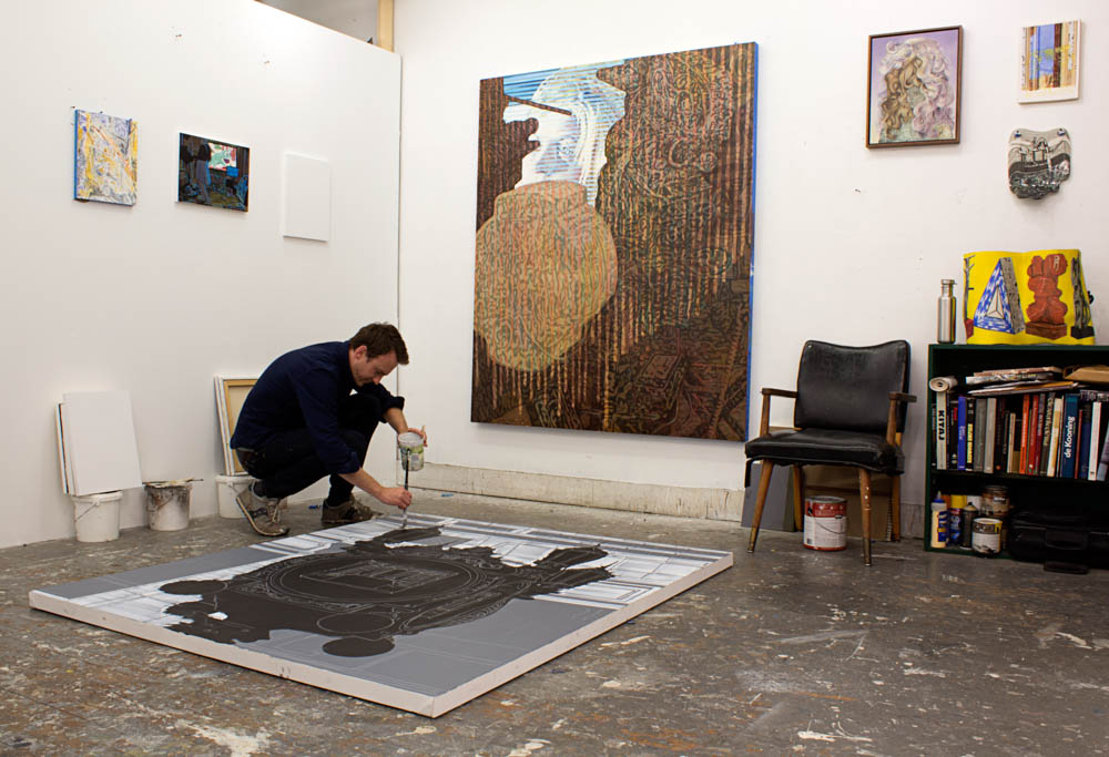 Sean at work in his studio.