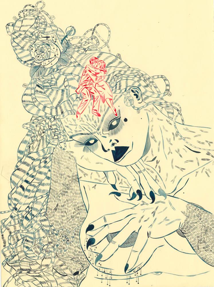"""cavegirl monologue II , 12"""" x 15"""", ink and gouache on paper, 2017"""