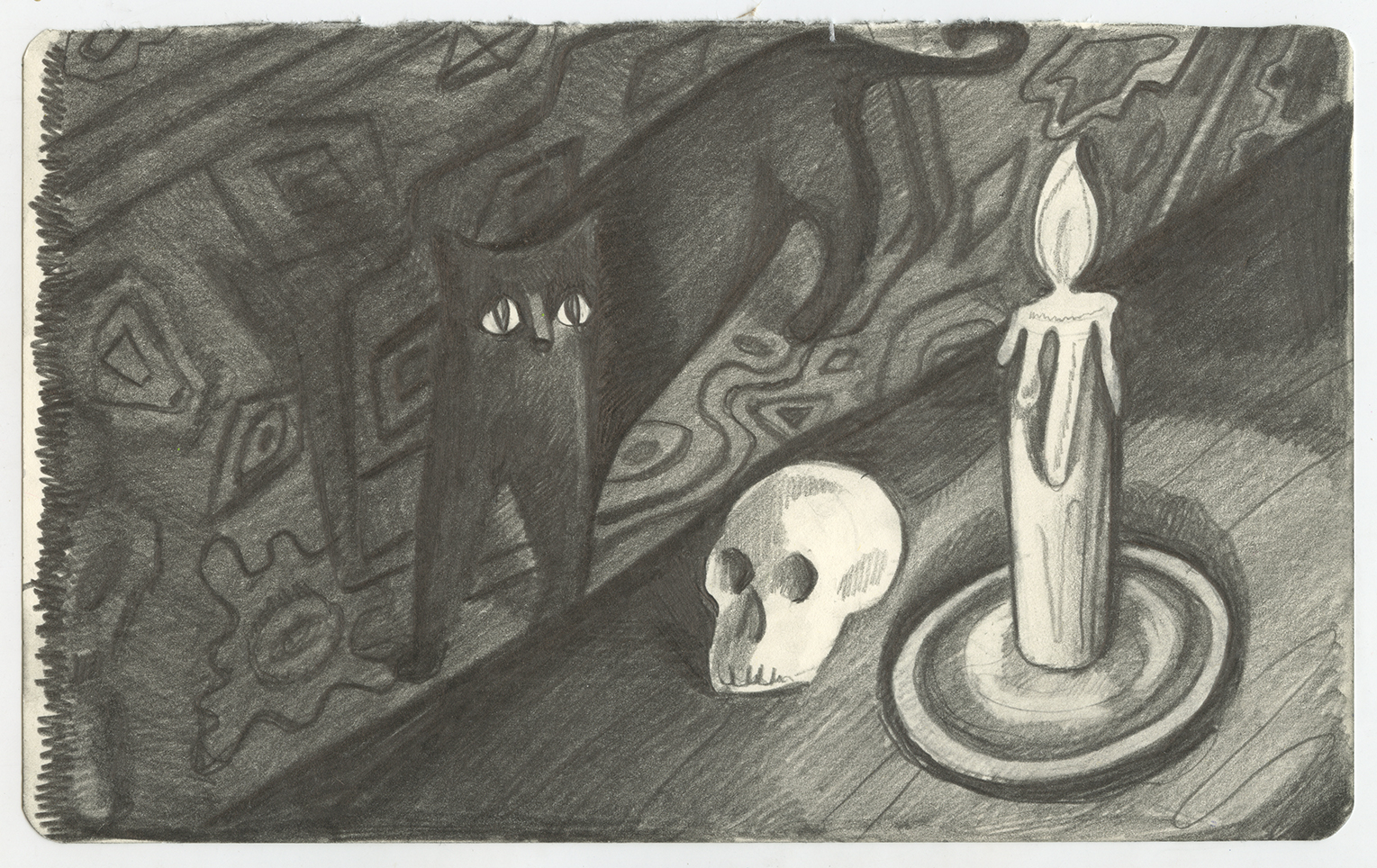Cat, Scull, Rug , graphite on paper, 5 x 9 inches