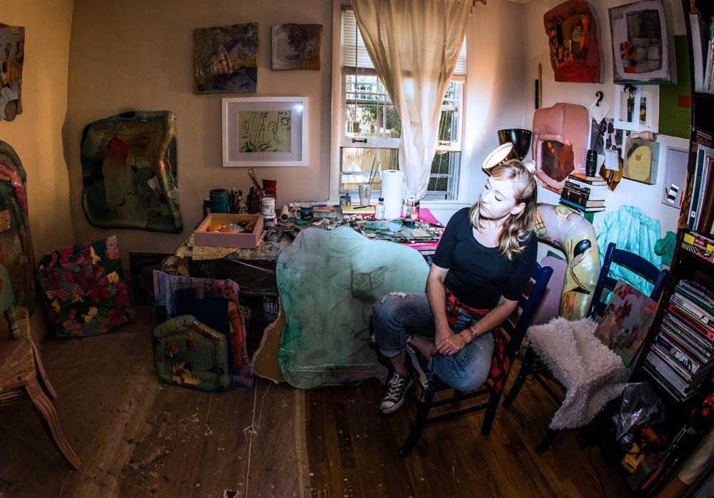 Amelia in her studio. Photo by Andrea Behrends.
