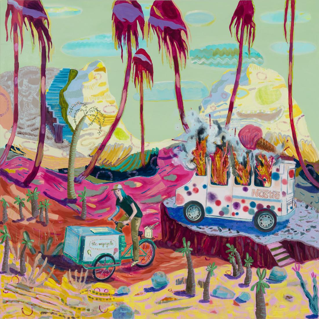 Melanie Daniel  Guerilla Ice , 2018 Oil on canvas 48 x 48 in
