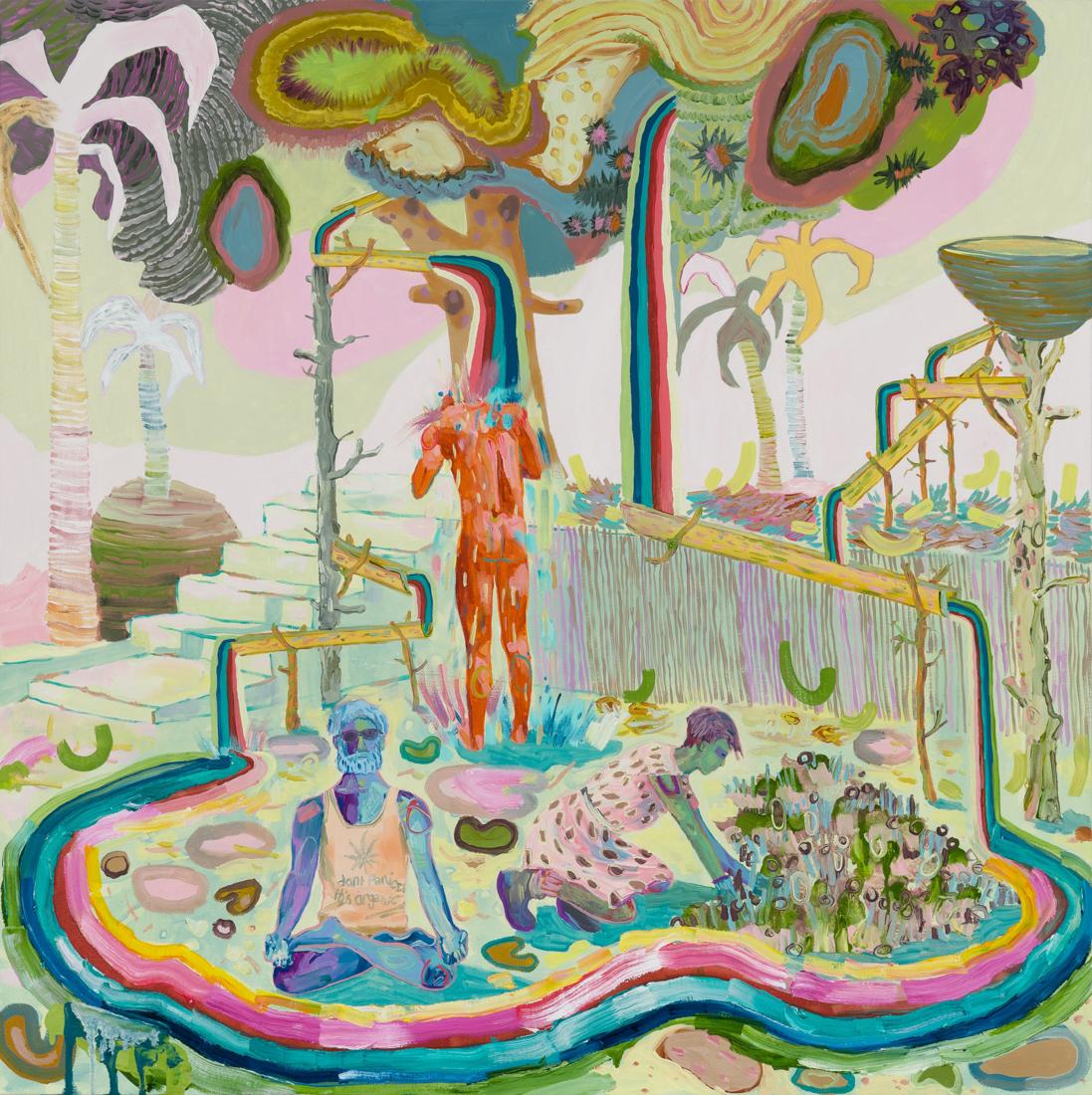 Melanie Daniel  Rainbow Colony , 2018 Oil on canvas 35 x 35 in