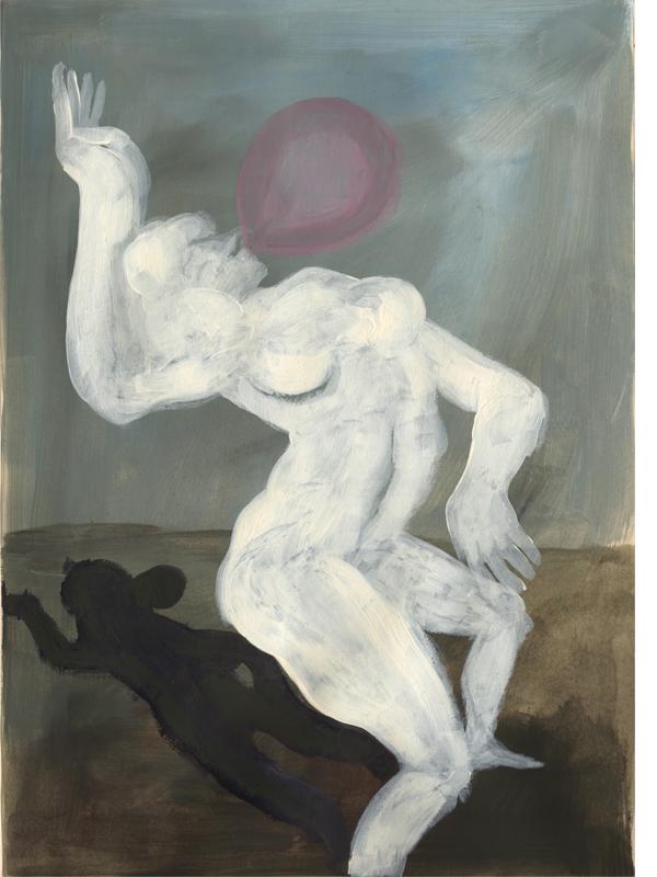 Bubble blows a woman , 2017, acrylic on paper, 30cm x 40 cm