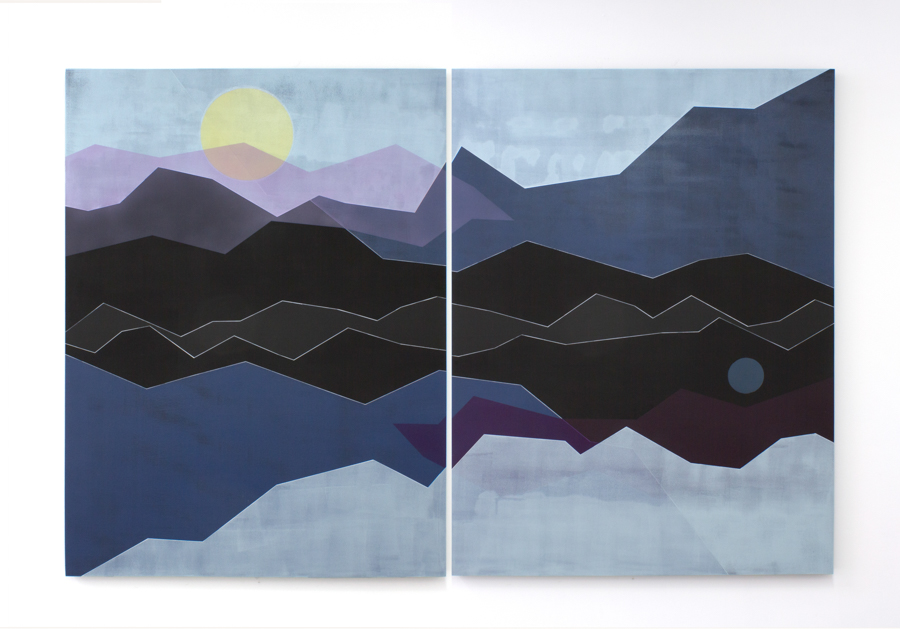 Solid Air,  2018 Acrylic and Flashe on panel 48 x 72 inches (diptych)
