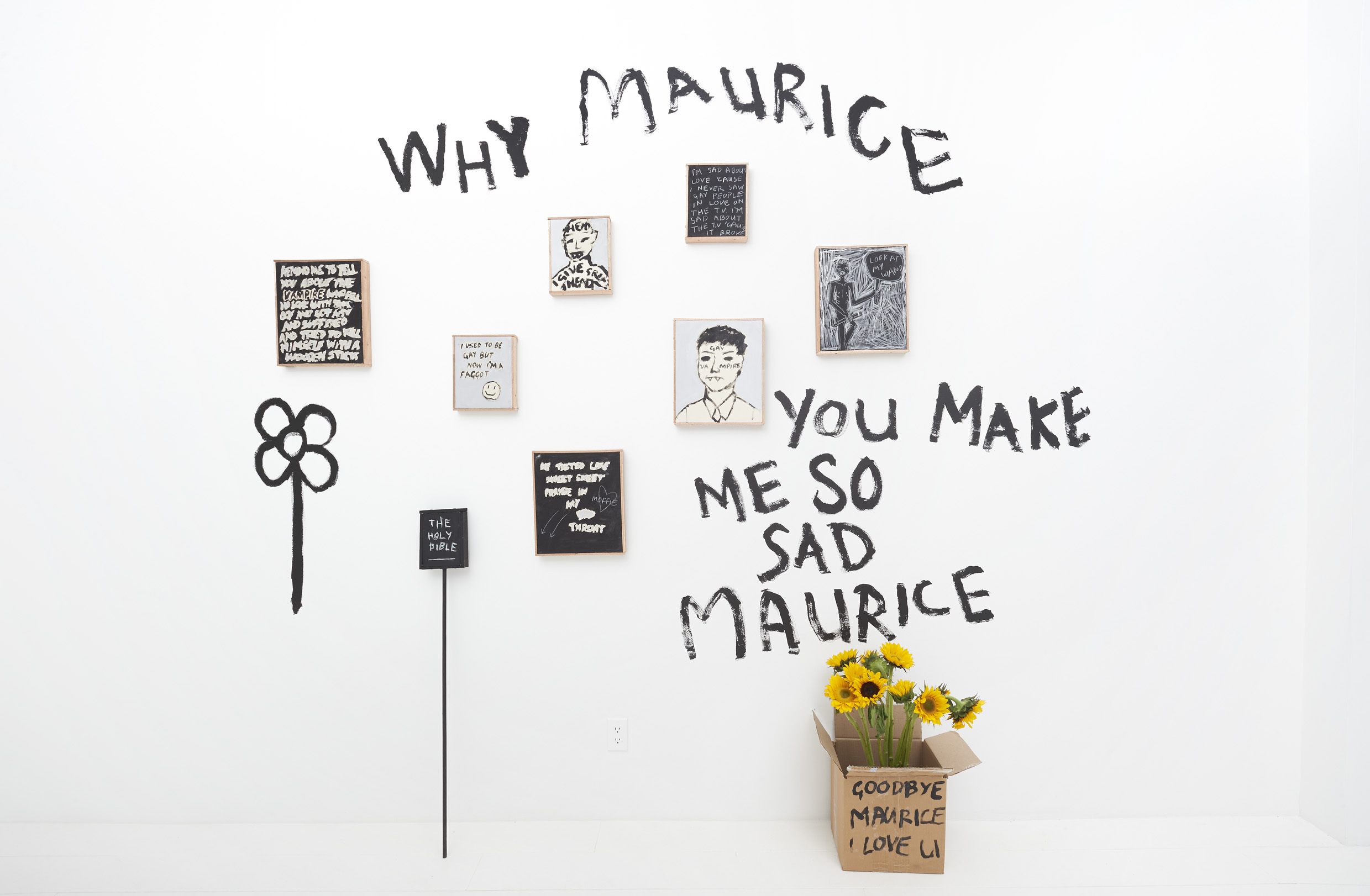 Installation:  Why Maurice ,   by Brett Seiler   in  Multiplicities Vol.1: Continuous Unknowing , curated by Natasha Becker, including work by Blake Daniels, Helina Metaferia, and Brett Seiler, November, 2018; exhibition installation. Photos by Masaki Hori Photography.