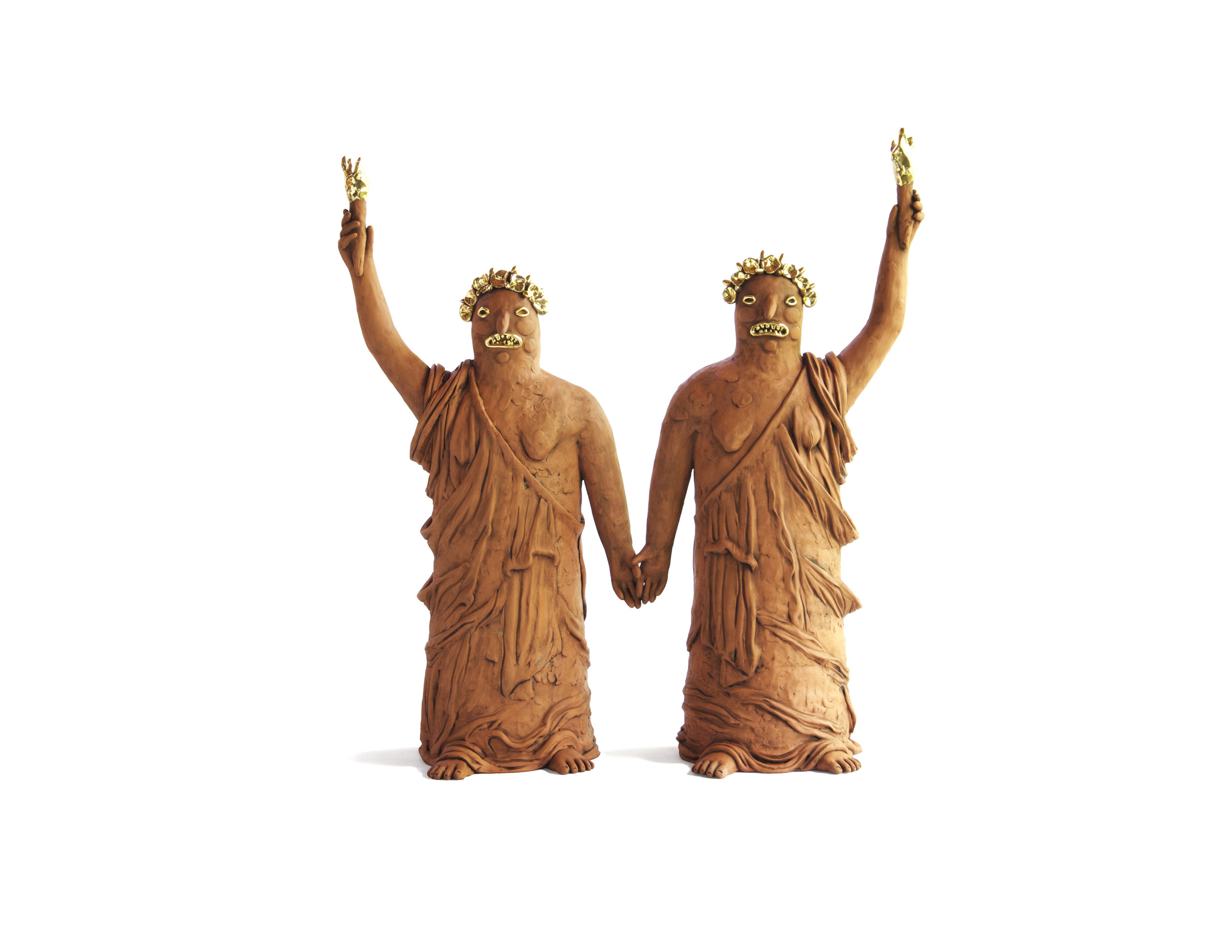 Libertas , 2018. Terracotta and Gold Luster, 23 x 2 x 7 inches