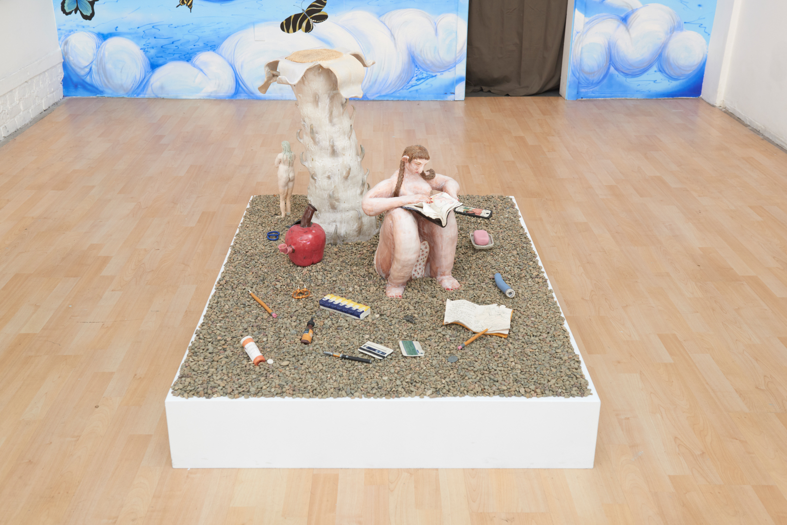 """Installation view from July 2018 solo """"Pith"""" at Hashimoto Contemporary, 2018 Ceramic, porcelain, river rocks, Dimensions Variable"""