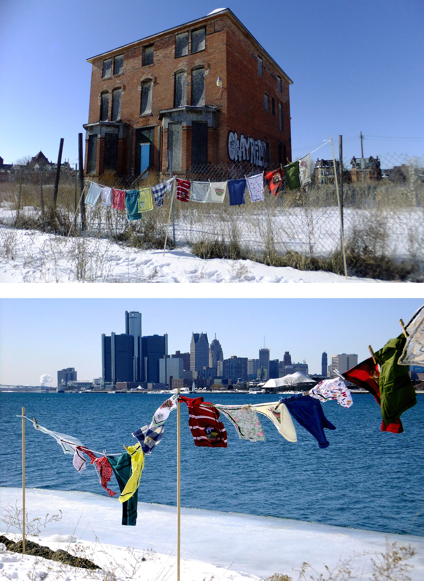 Prayer Flags for Detroit    2014   Digital photos of flags installed in Detroit, Michigan  14' x 6'
