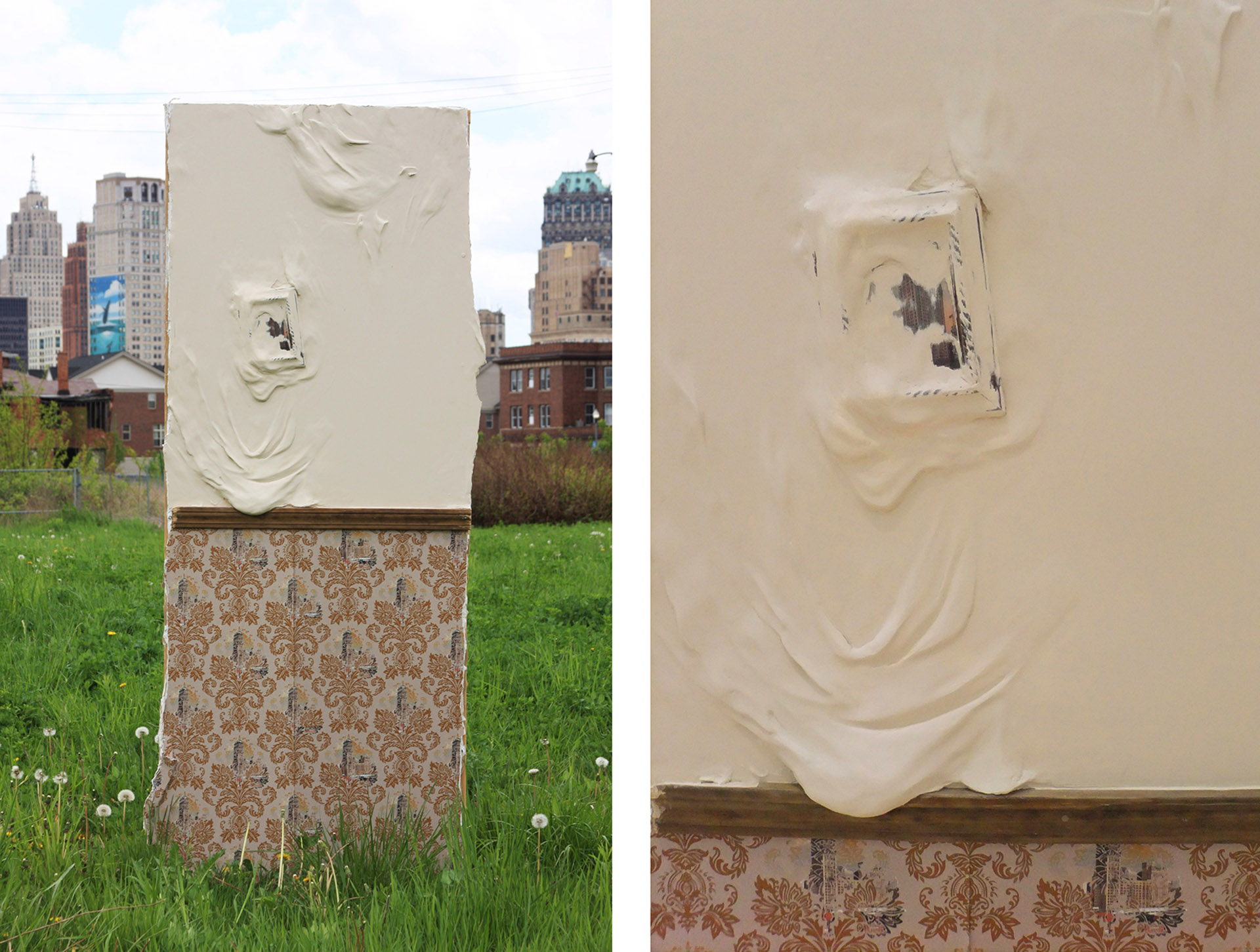 """My City, My Home, My Body Series   2011  Drywall, joint compound, wood molding, latex paint, picture frame, postcard, and digitally printed wallpaper  32"""" x 7'"""