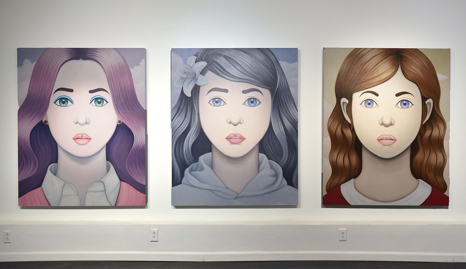 Installation of Jeff's paintings