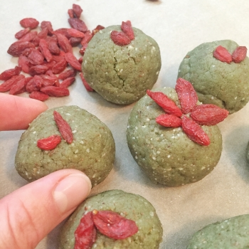 These bites look a little bit greener because I used Vega Vegan Protein Powder in this batch.