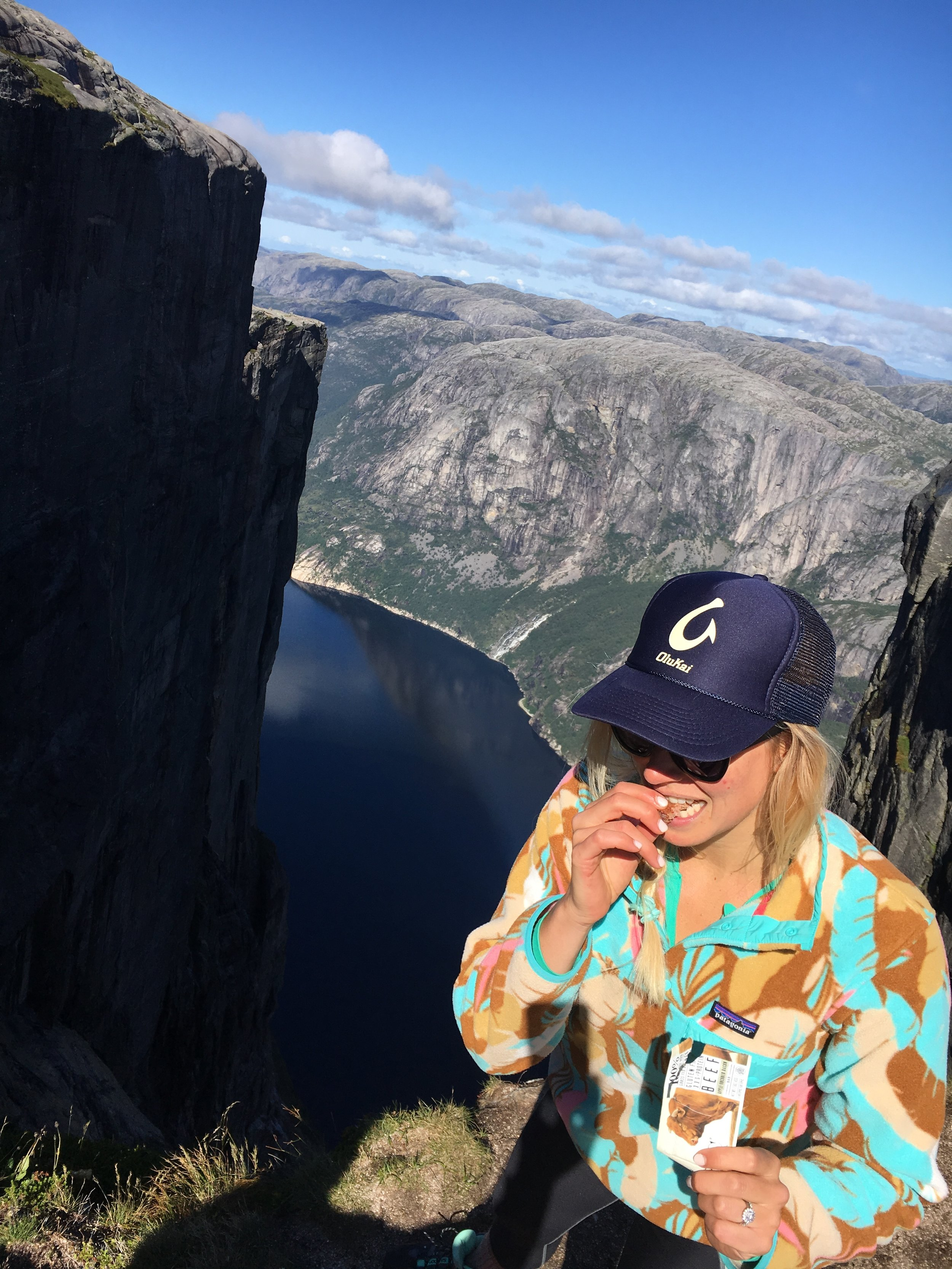 I love taking Epic Bars with me everywhere I go. Here is am snacking on one after a big climb in Norway this past August.