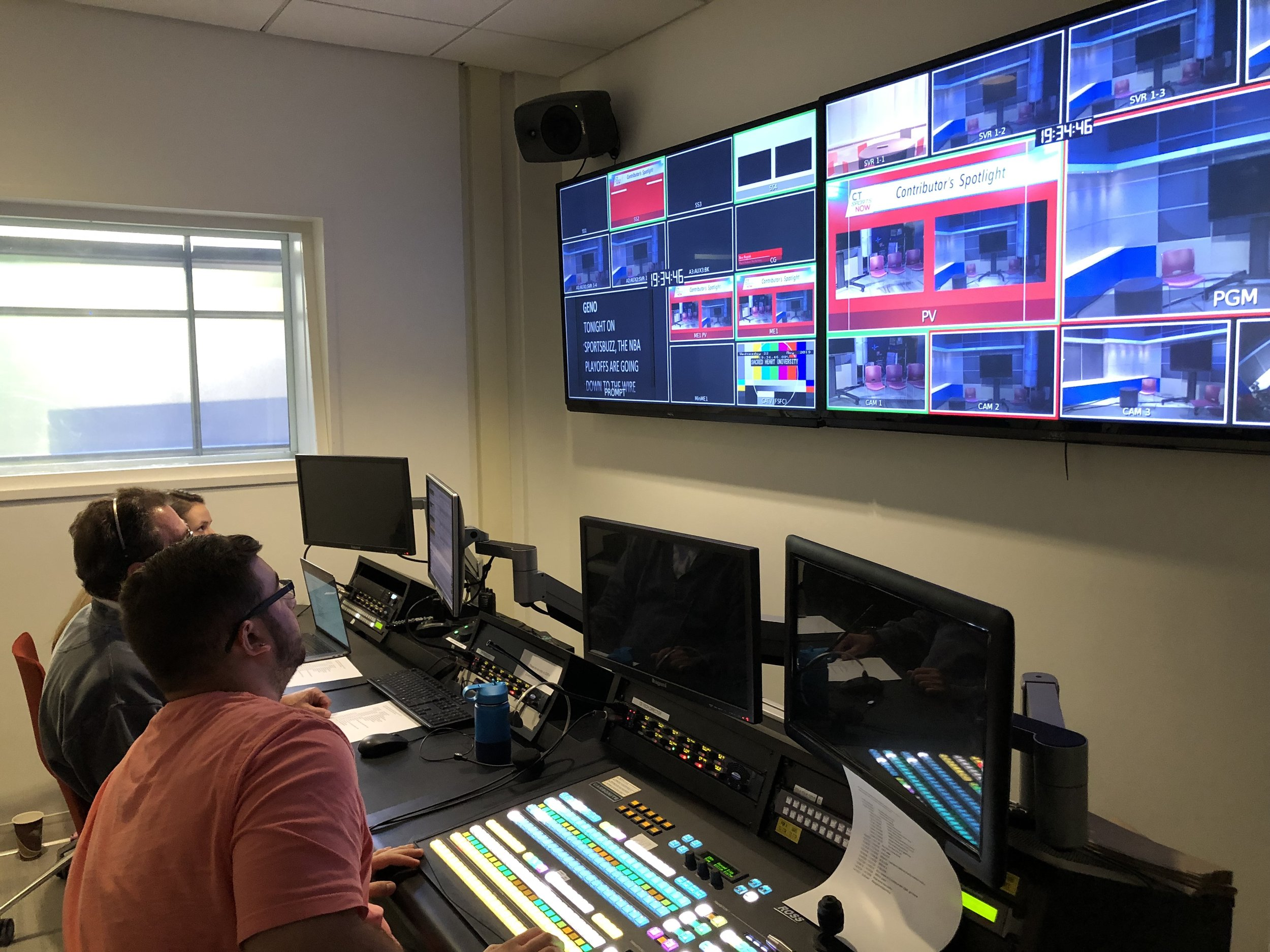 The Production team in the control room rehearsing