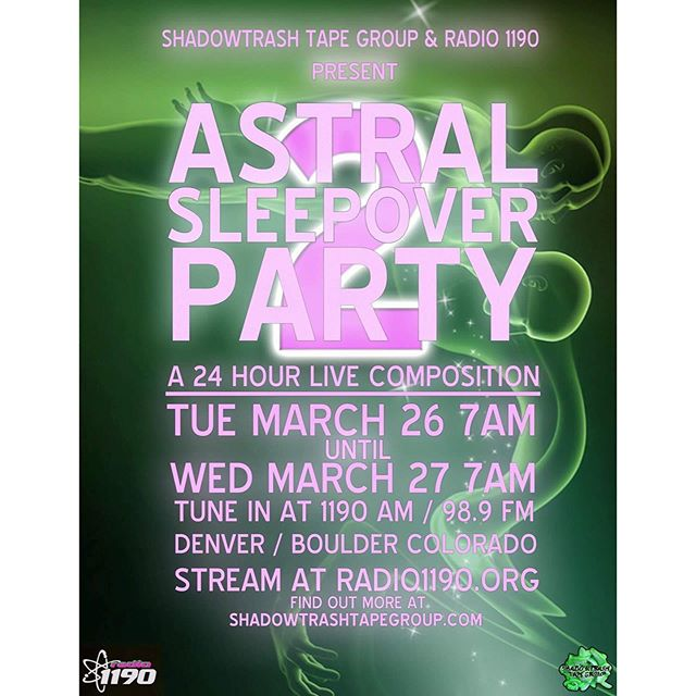 Our friends in Shadowtrash Tape Group are taking over the airwaves for a 24-hour live composition over spring break. Tune in to astral project ✨🔮