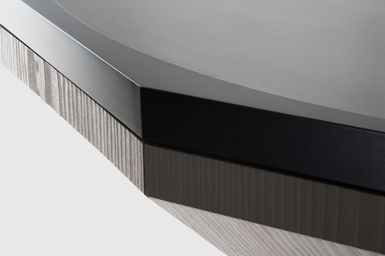 Makina   Dodec Table (detail)  2015 Anodized solid aluminium billet & Douglas fir h45 x D155 cm, 180kg Andree Cooke Editions 10+2AP+2P