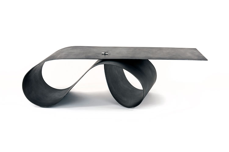 Makina   Sprung Table  2015 Patinated sprung steel, solid silver h50 x w90 x d185 cm Andree Cooke Editions 10+2AP+2P