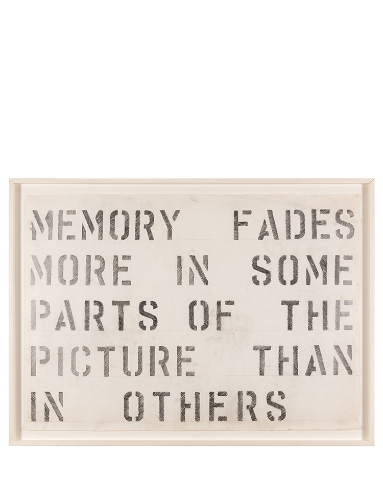 Rose Finn-Kelcey   Untitled drawing ' Memory fades more in some parts of the picture than in others' C. 1970 Pencil drawing on paper, framed W 26 x H 92.5cm Unique