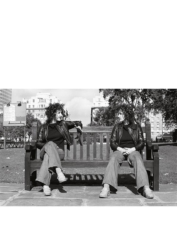 Rose Finn-Kelcey   Divided Self (Speakers' Corner)  1972-2011 Black & white silver gelatine photographic print  H 54.5 x W 76 cm