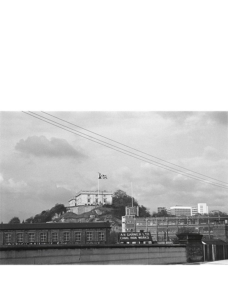 Rose Finn-Kelcey   Fog  1972-2011 'Weather forecast' flag  Nottingham Castle, Nottingham  Black and white photograph  H 54.5 x W 76 cm
