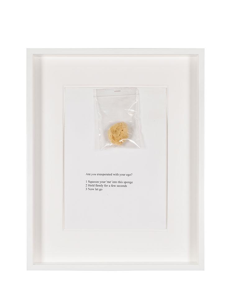 Rose Finn-Kelcey   Ego / Non-Ego  1994 Handout: Paper, sponge and plastic bag W 36 x H 45 x D 6 cm Unlimited