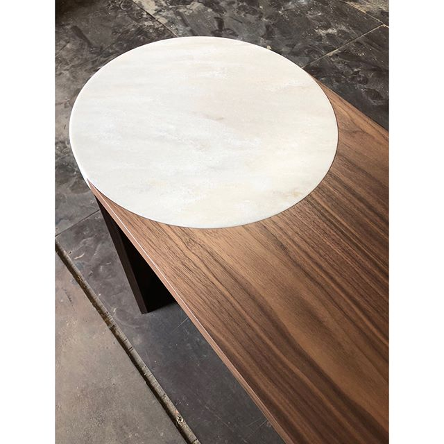 Bar Height Gibbous Table in Walnut and Witch Hazel Corian @nohahassandesigns #gibboustable