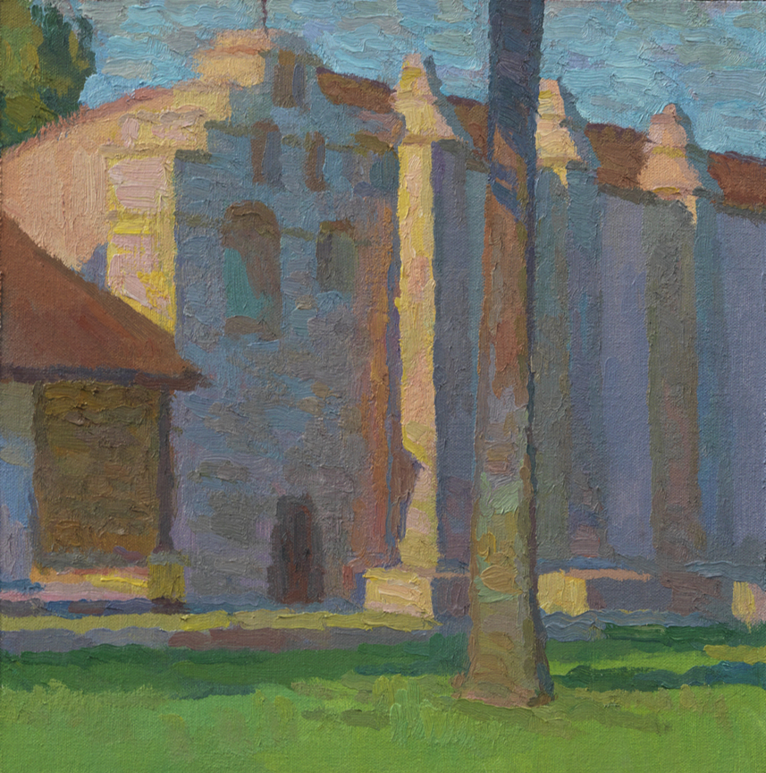 "Striking a Note: Sunset on the San Gabriel Mission Campanario , 12"" x 12"", © Eric Merrell"