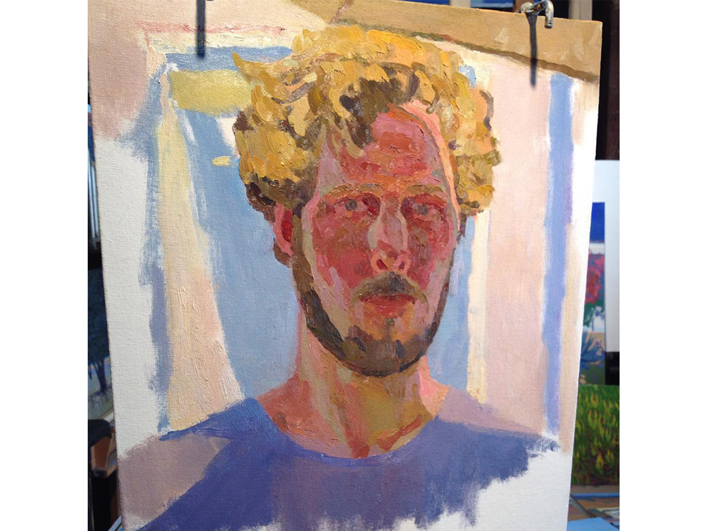 Summer self-portrait in progress, July 24, 2015