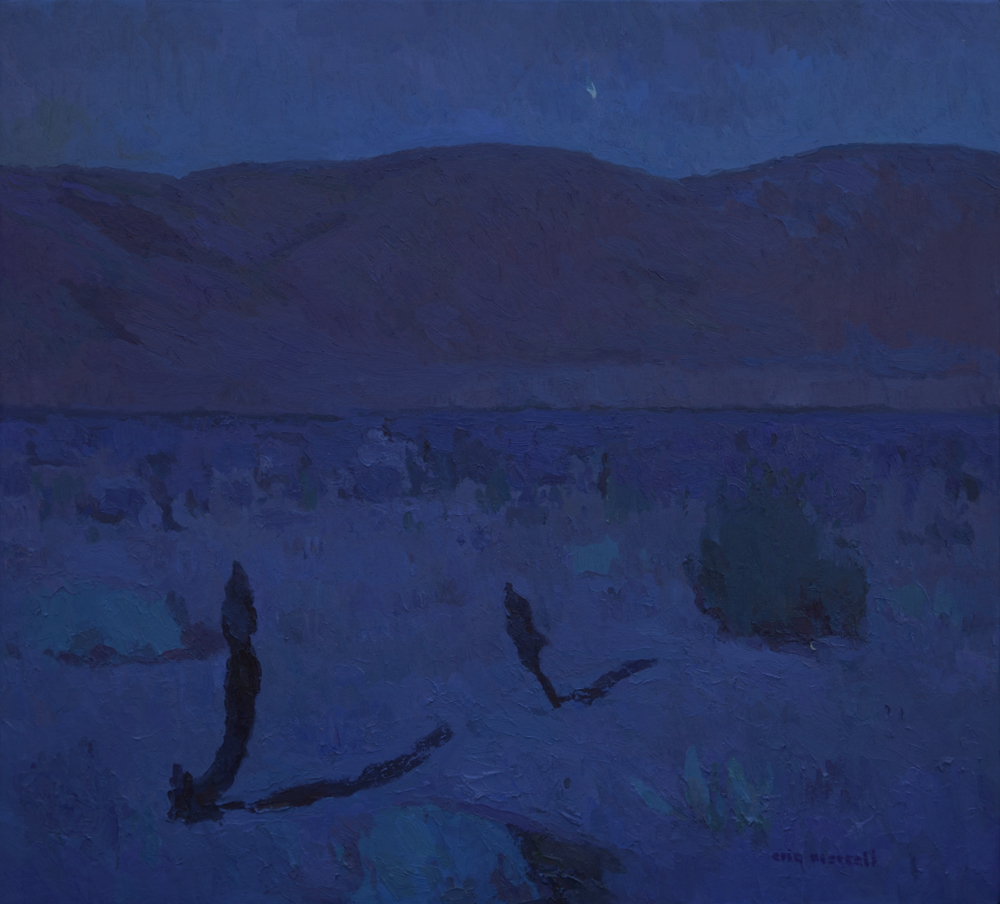 """Desert Moonlight with Jupiter Setting,"" 24"" x 26"", © Eric Merrell"