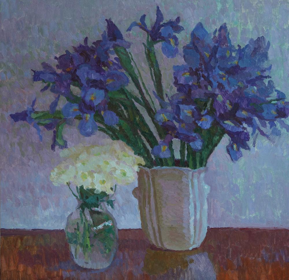 "Irises, 20"" x 20"", © Eric Merrell"