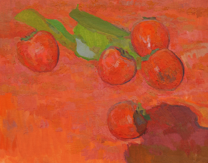 [Eric Merrell,  Afterimage ] In this painting I'm relying primarily on color to create form and dimensionality; the color here is intense but not very dark (and the intensity is created by relationships to other colors, not straight out of the tube color, which would be unrelated and garish). The round volumes of the persimmons can be felt even without much of a shadow, and the table surface has depth, warmer at the bottom/front edge receding to slightly cooler behind the leaves. Color has abilities above and beyond value.